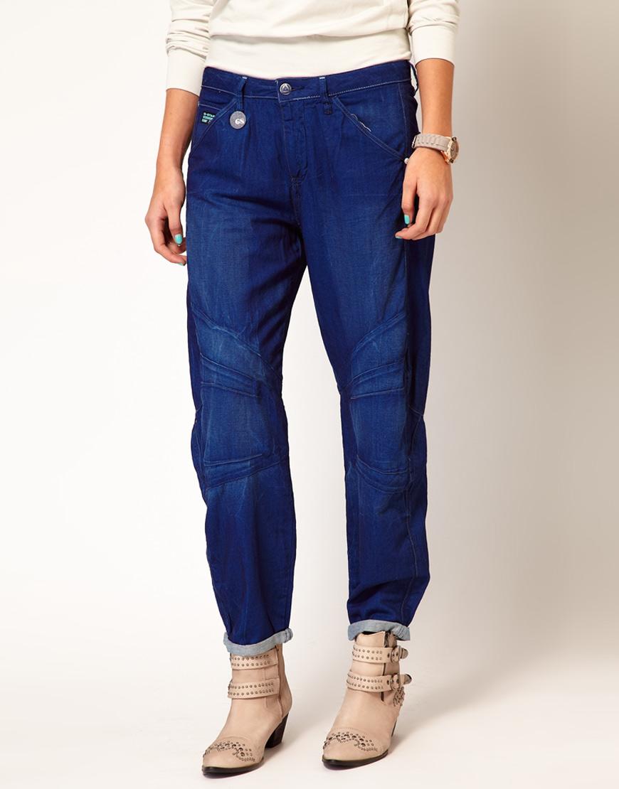 g star raw gstar boyfriend jeans in blue lyst. Black Bedroom Furniture Sets. Home Design Ideas