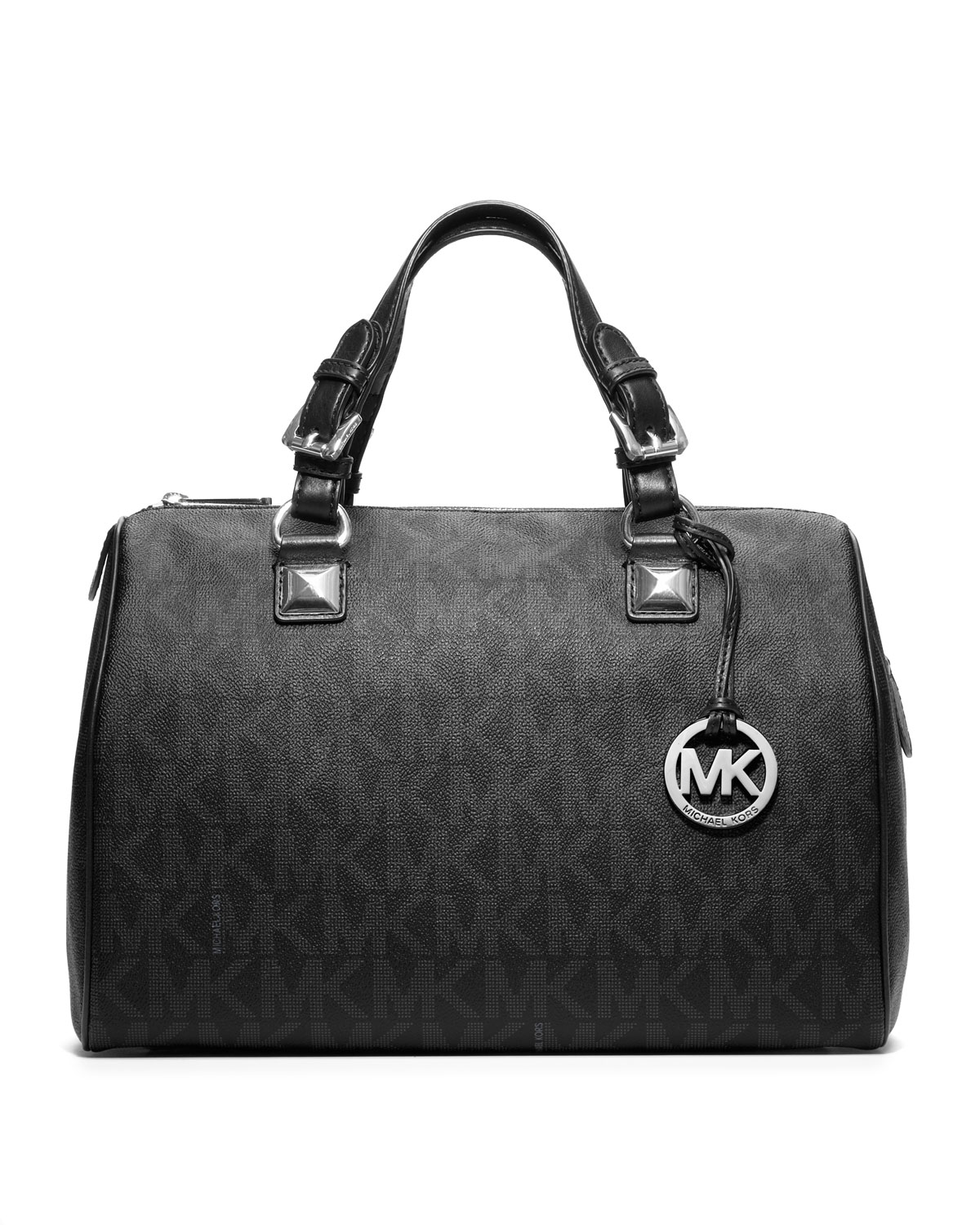 michael kors large grayson logo pvc satchel in black lyst. Black Bedroom Furniture Sets. Home Design Ideas