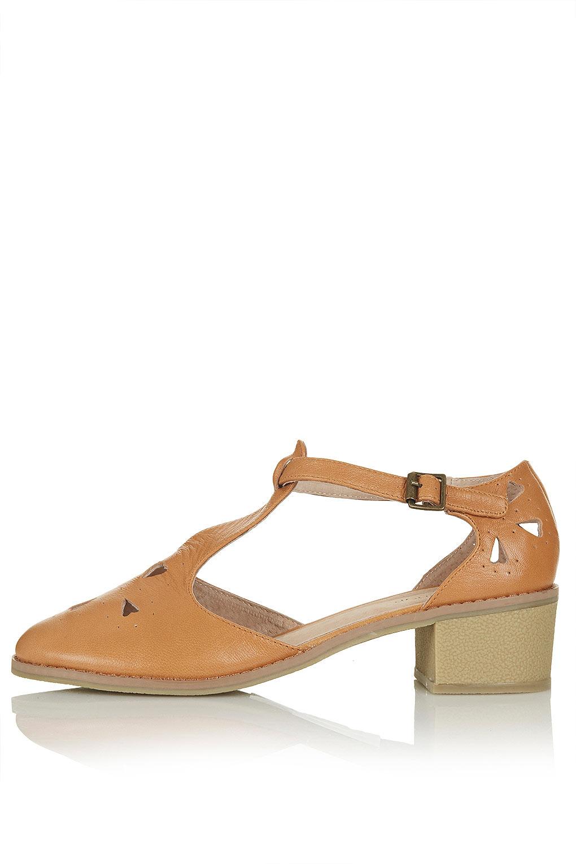 b254e5553ce TOPSHOP Brown Block Heel Tbar Shoes