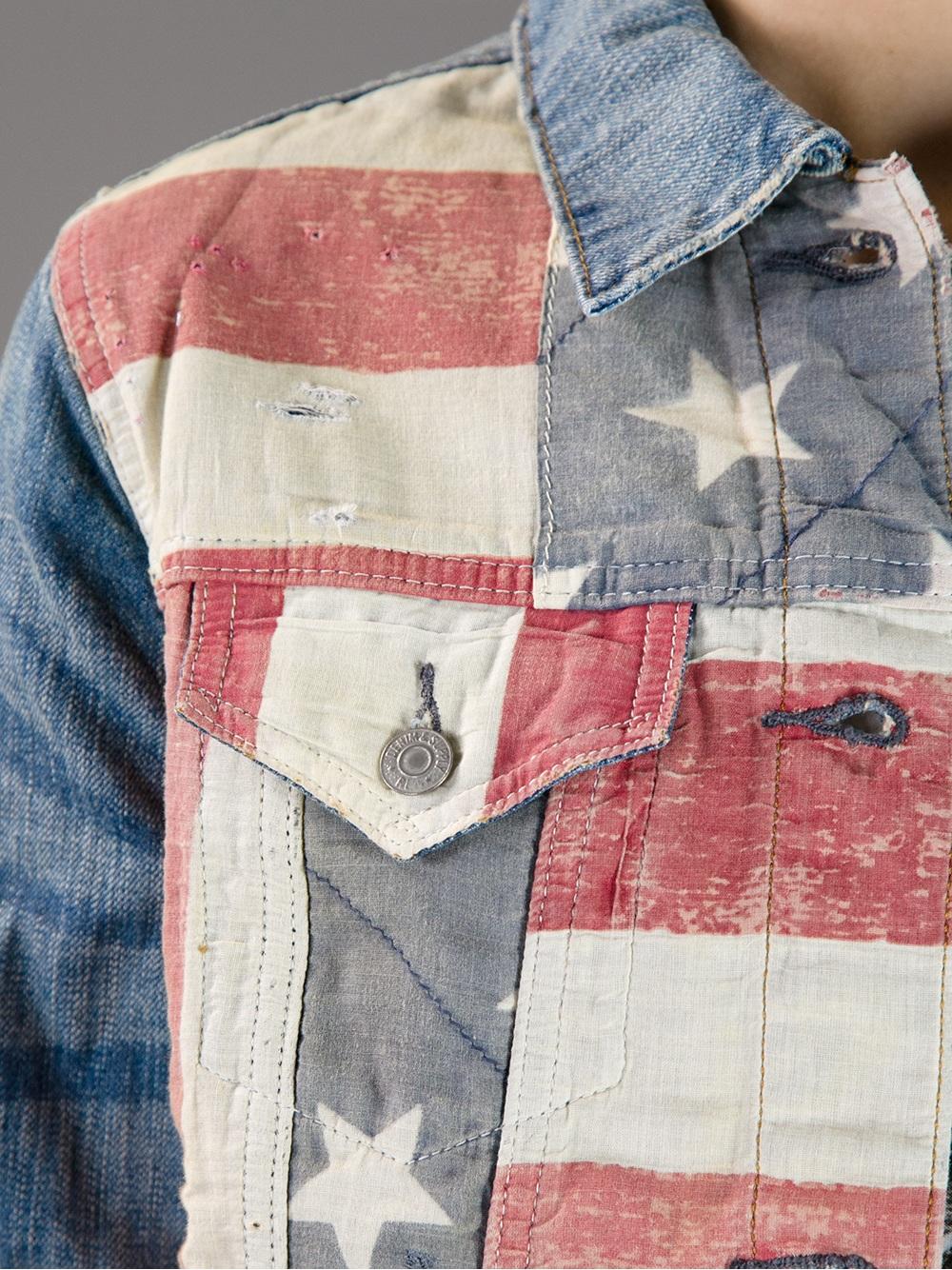 ralph lauren american flag print denim jacket in blue