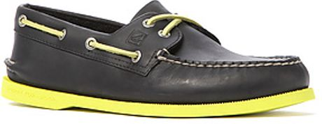 Sperry Top sider The Ao 2eye Neon Boat Shoe in Black Neon #1: sperry topsider black the ao 2eye neon boat shoe in black neon yellow product 1 large flex