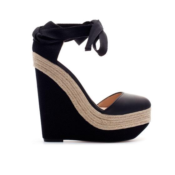 zara jute wedge v shoe in black lyst
