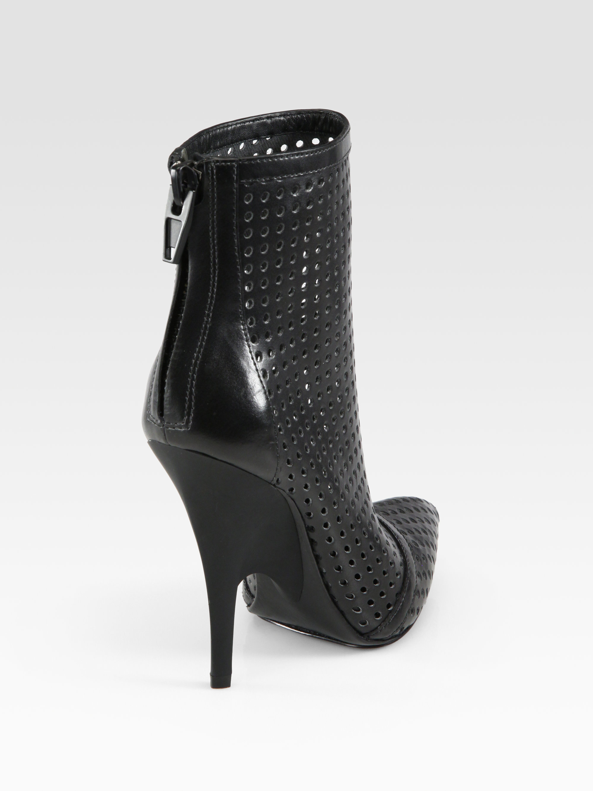Alexander Wang Shelly Perforated Leather Ankle Boots In