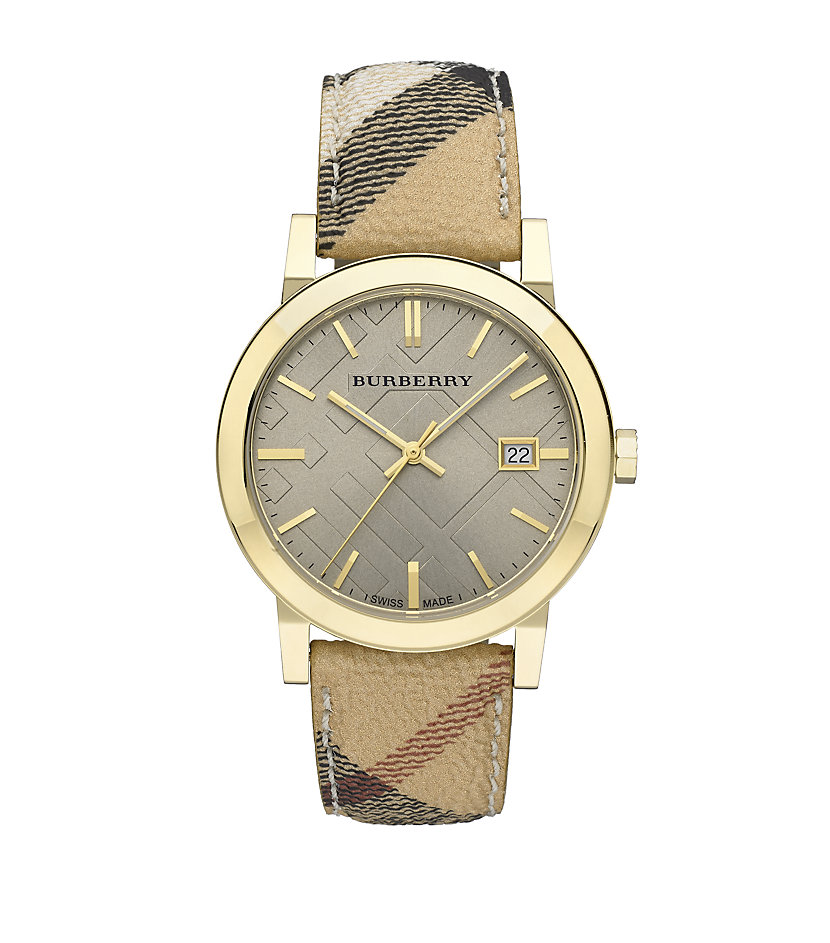 Burberry haymarket watch in gold lyst for Burberry watches