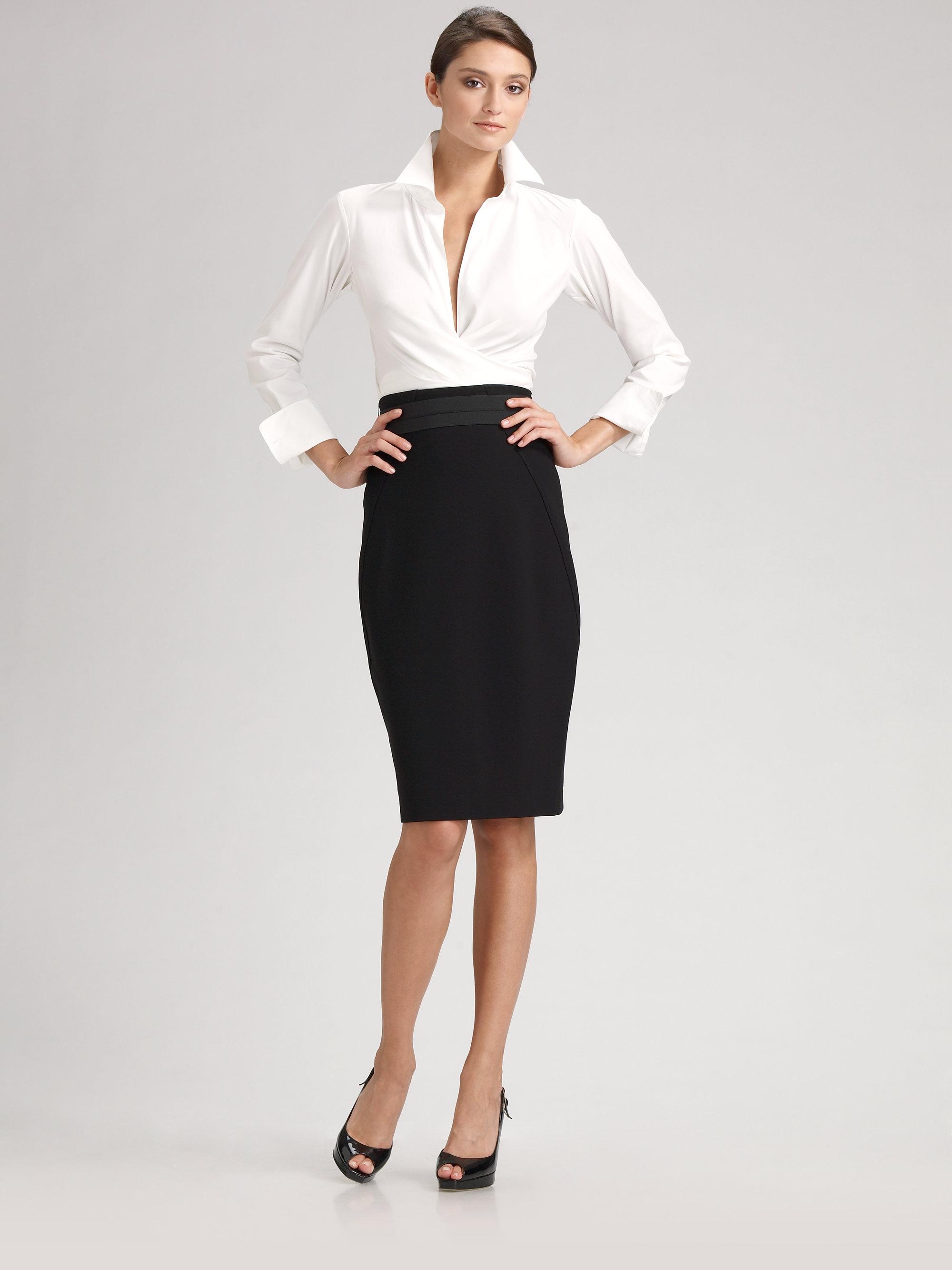 5d400904fb76a Lyst - Donna Karan Stretch Cotton Wrap Shirt in White
