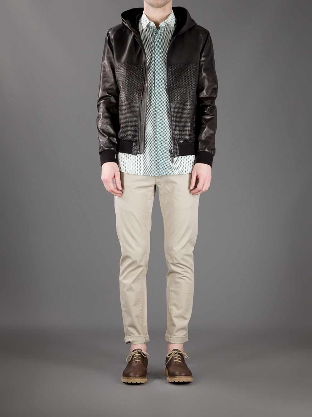 Fendi Woven Leather Jacket in Brown for Men