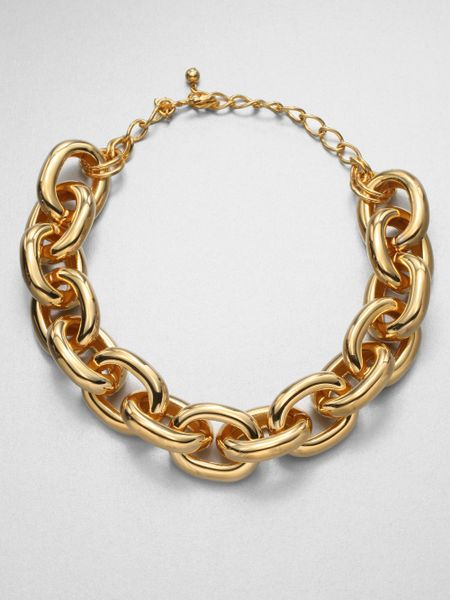 Kenneth jay lane polished link necklace in gold lyst for What is gold polished jewelry