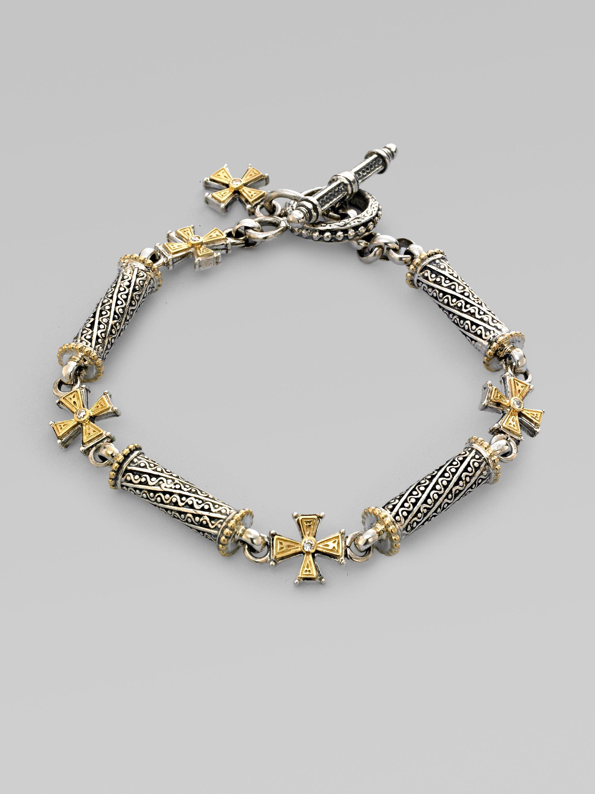 Konstantino 18k Gold Sterling Silver Diamond Cross