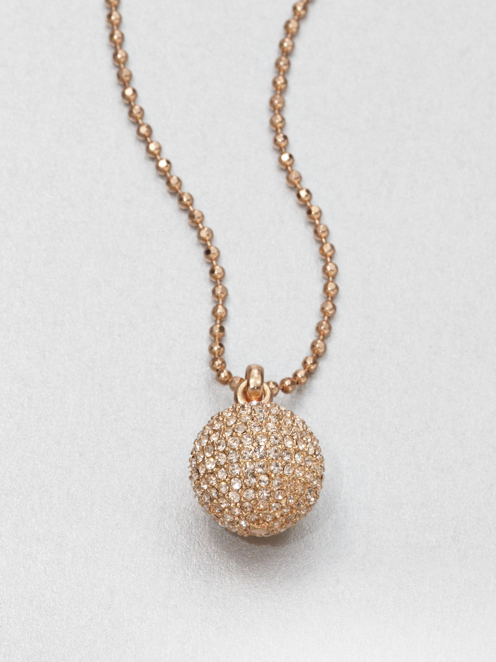 Lyst Michael Kors Pav 233 Ball Pendant Necklace Rose Gold