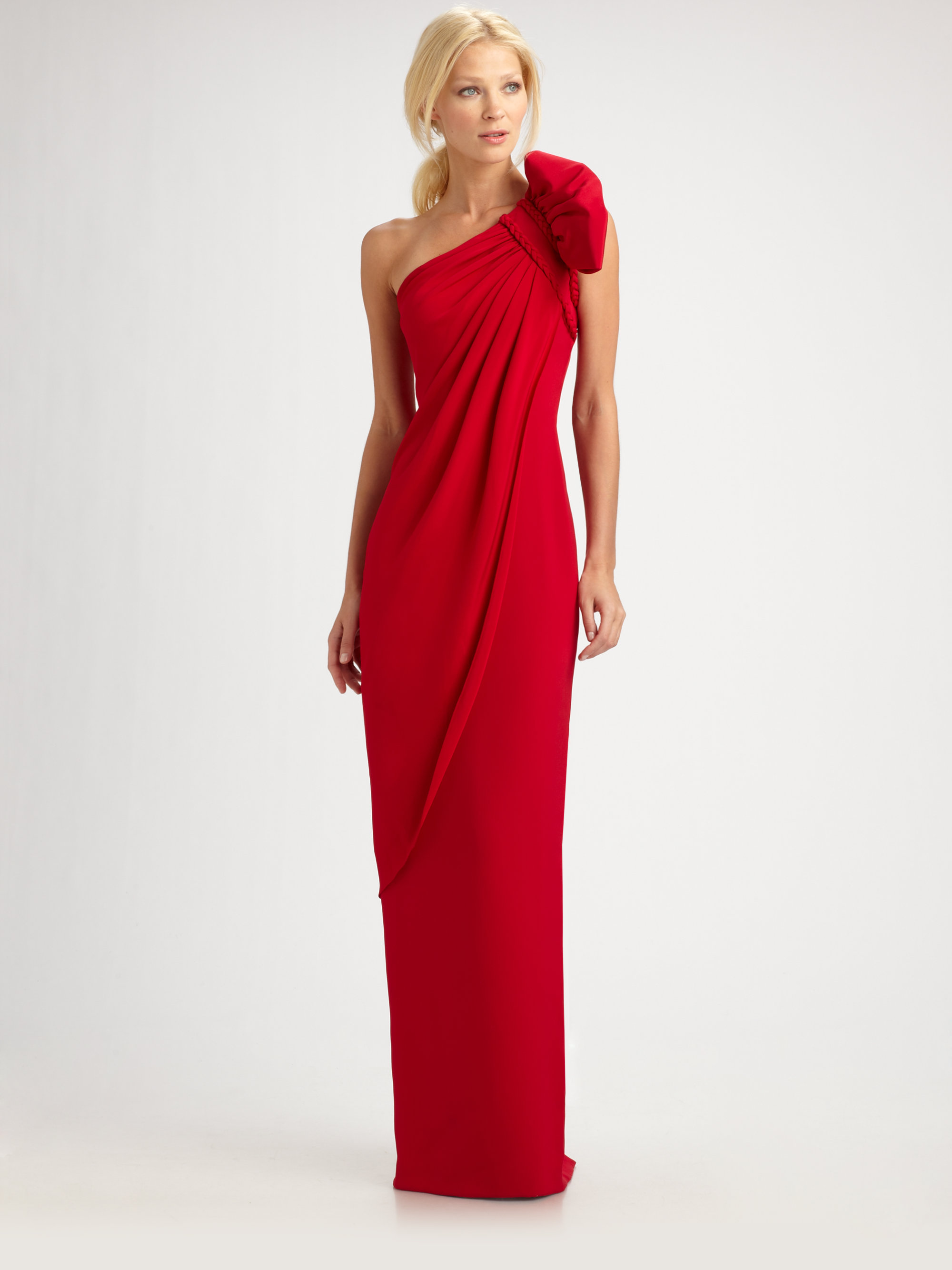 aa28b10f07 Marchesa notte Draped Silk Crepe One Shoulder Gown in Red - Lyst