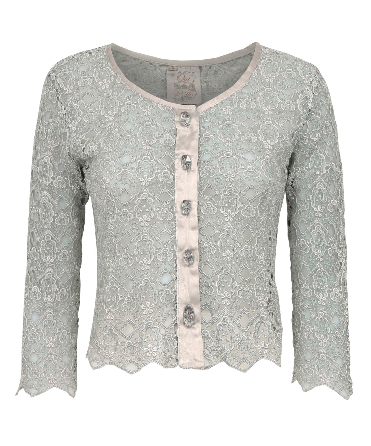 Out of xile Silver Lace Buttondown Jacket in Metallic | Lyst
