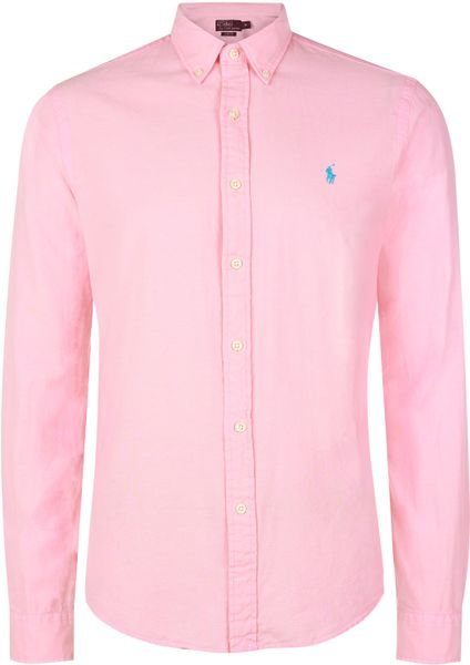 Polo Ralph Lauren Pink Button Down Oxford Shirt In Pink