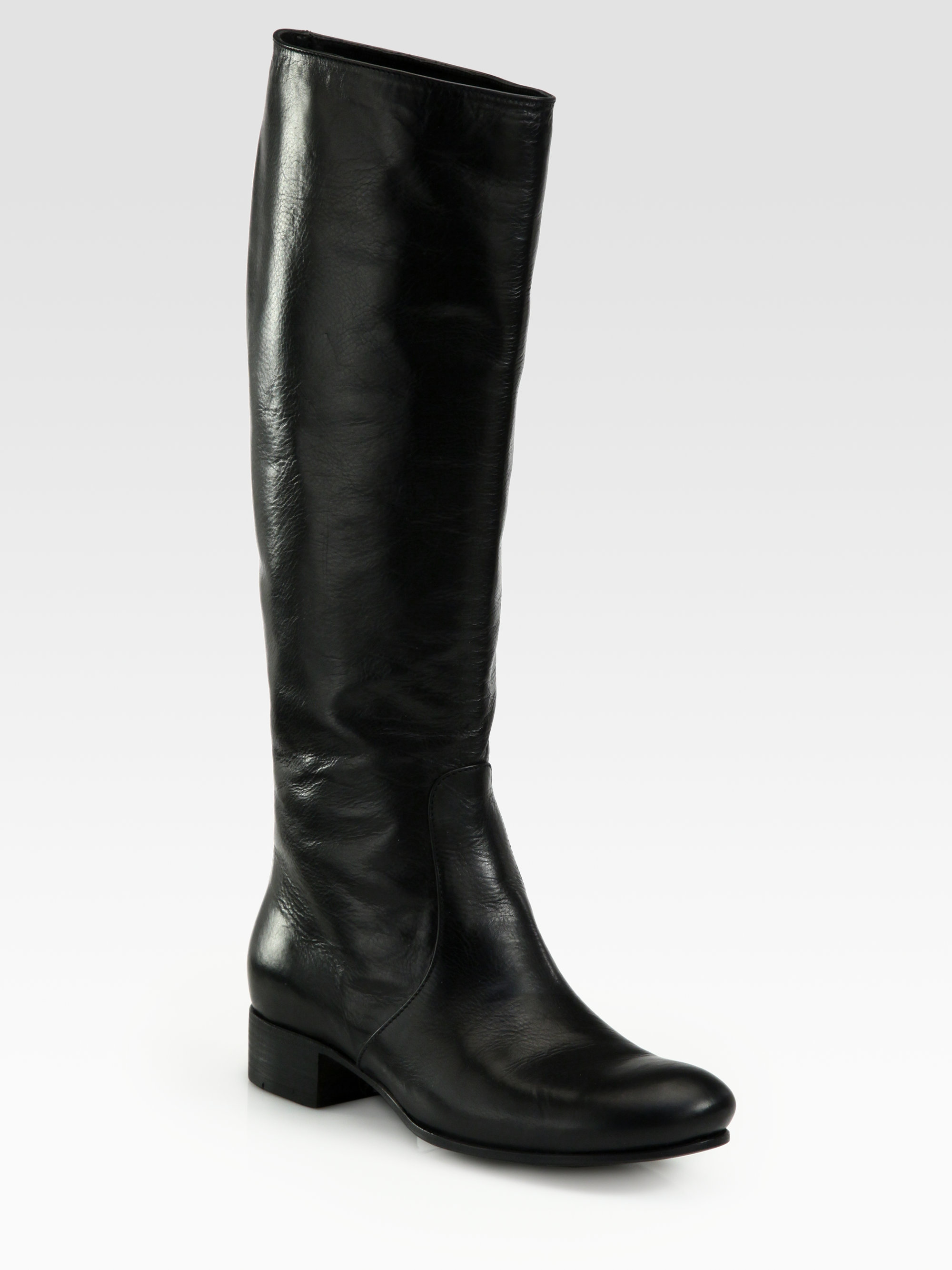 Prada Tall Leather Riding Boots In Black Lyst