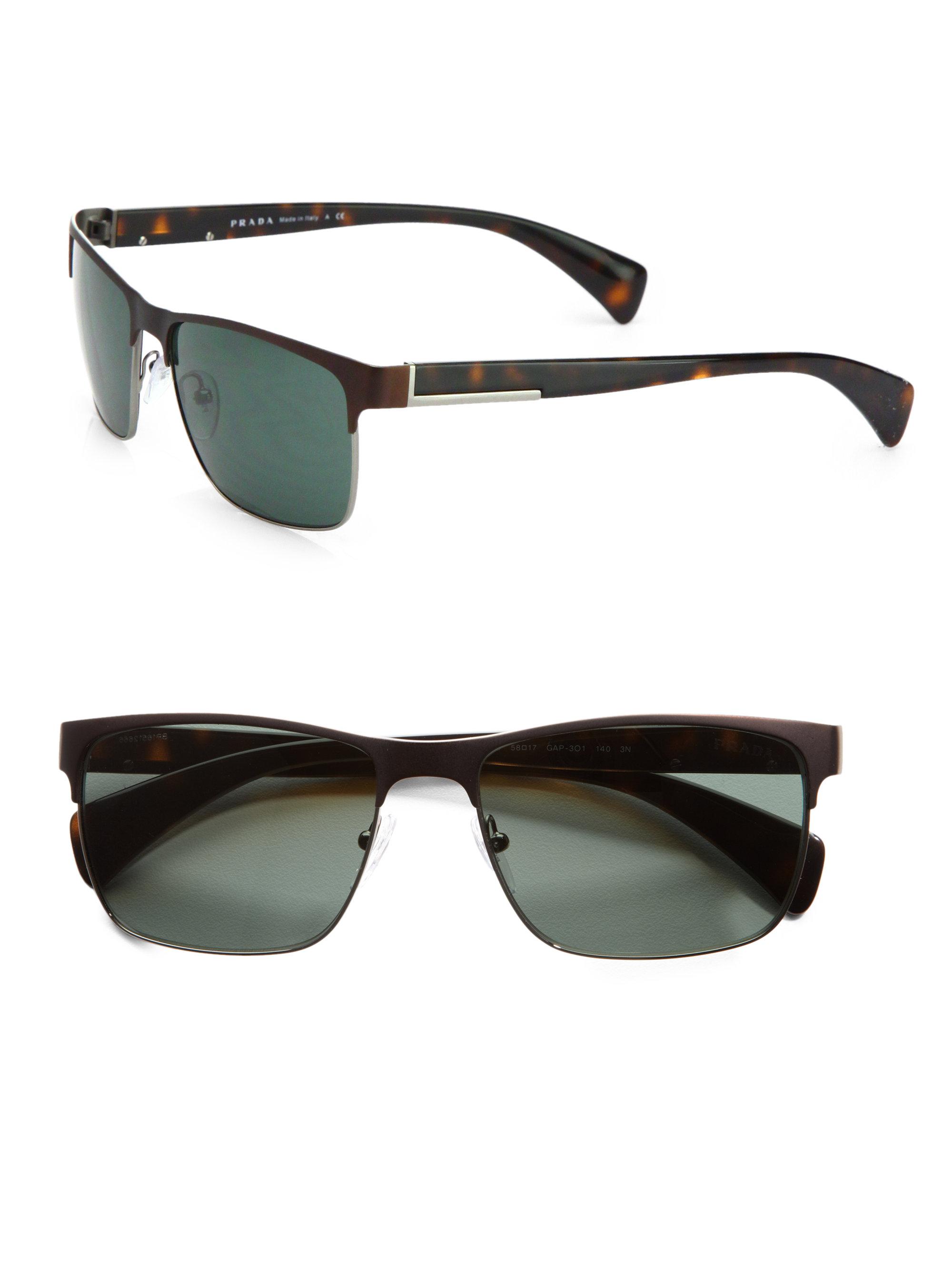 57771ef81431 ... netherlands lyst prada twotone square sunglasses in brown for men 072c8  d7dc0