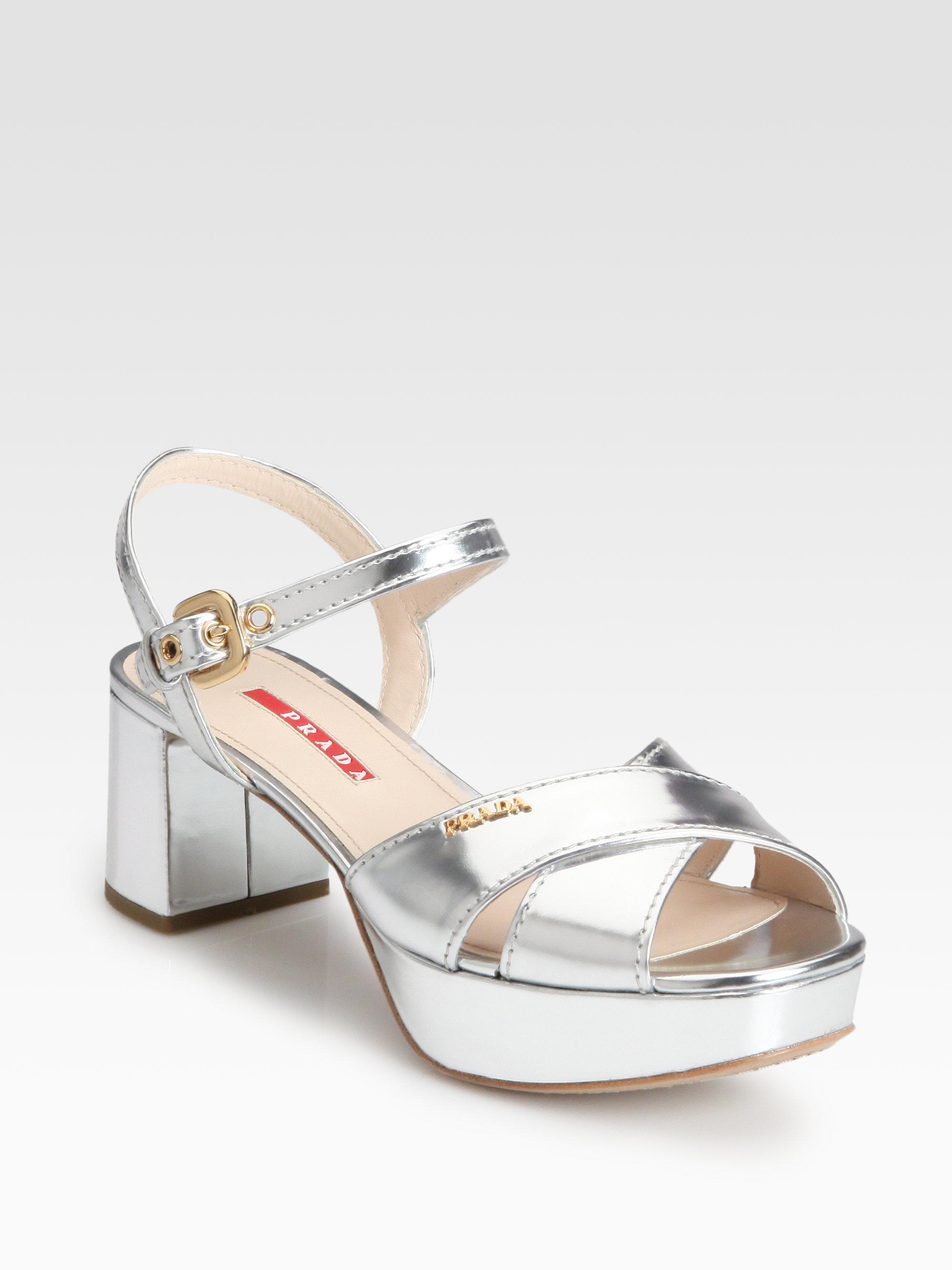 Prada Metallic Leather Crisscross Platform Sandals - Lyst