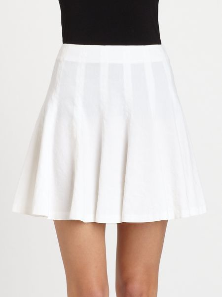 theory eliza pleated skirt in white lyst
