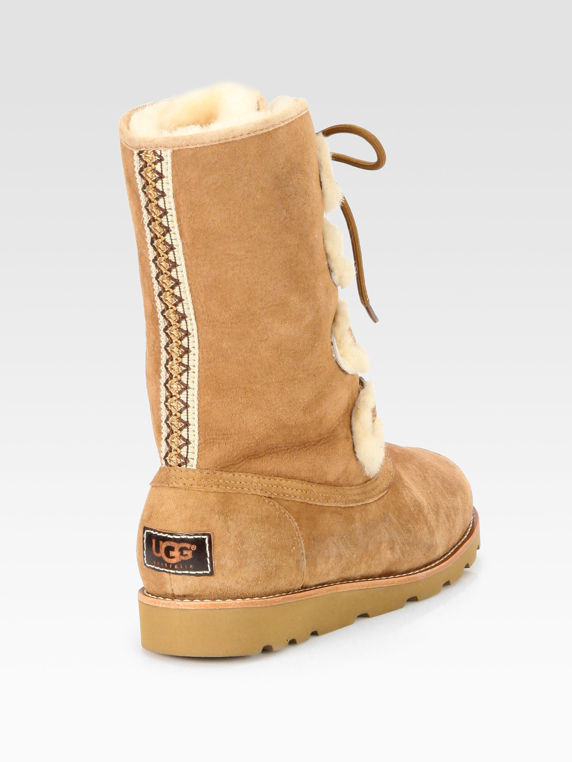 e0a53be46aa UGG Brown Rommy Suede and Shearling Lace-up Mid-calf Boots