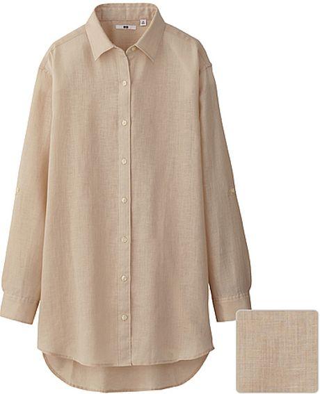 Uniqlo premium linen long sleeve shirt tunic in beige lyst for Uniqlo premium t shirt