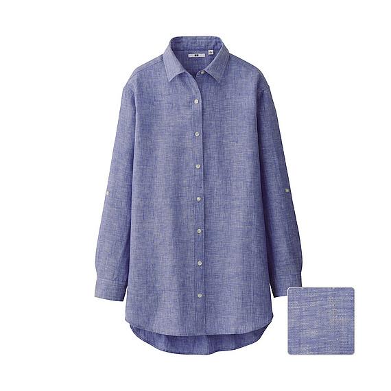 Uniqlo premium linen long sleeve shirt tunic in purple lyst for Uniqlo premium t shirt