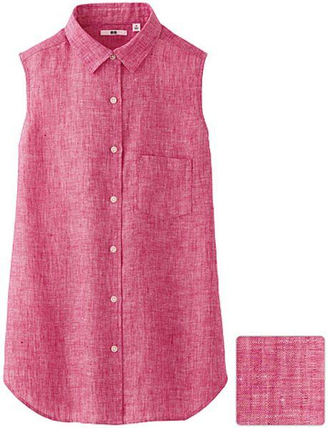 Uniqlo premium linen sleeveless shirt in red lyst for Uniqlo premium t shirt