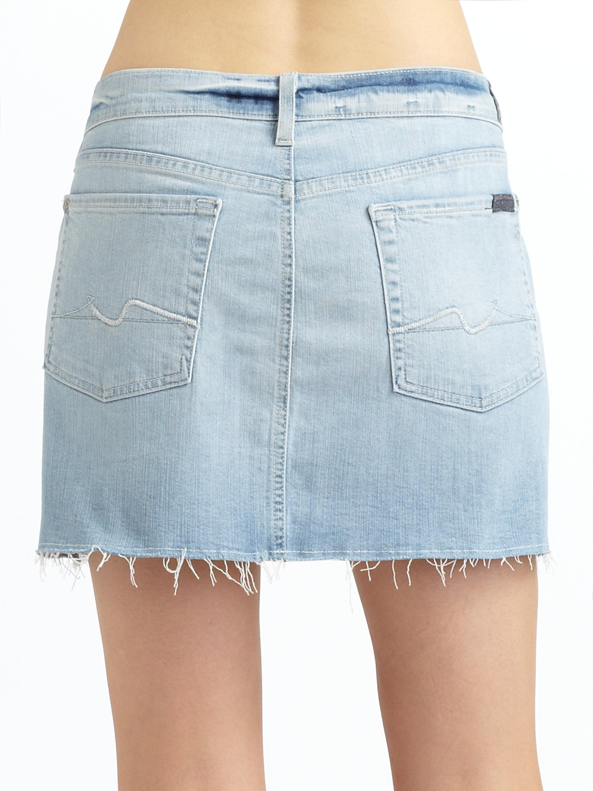7 for all mankind Denim Cutoff Skirt in Blue | Lyst