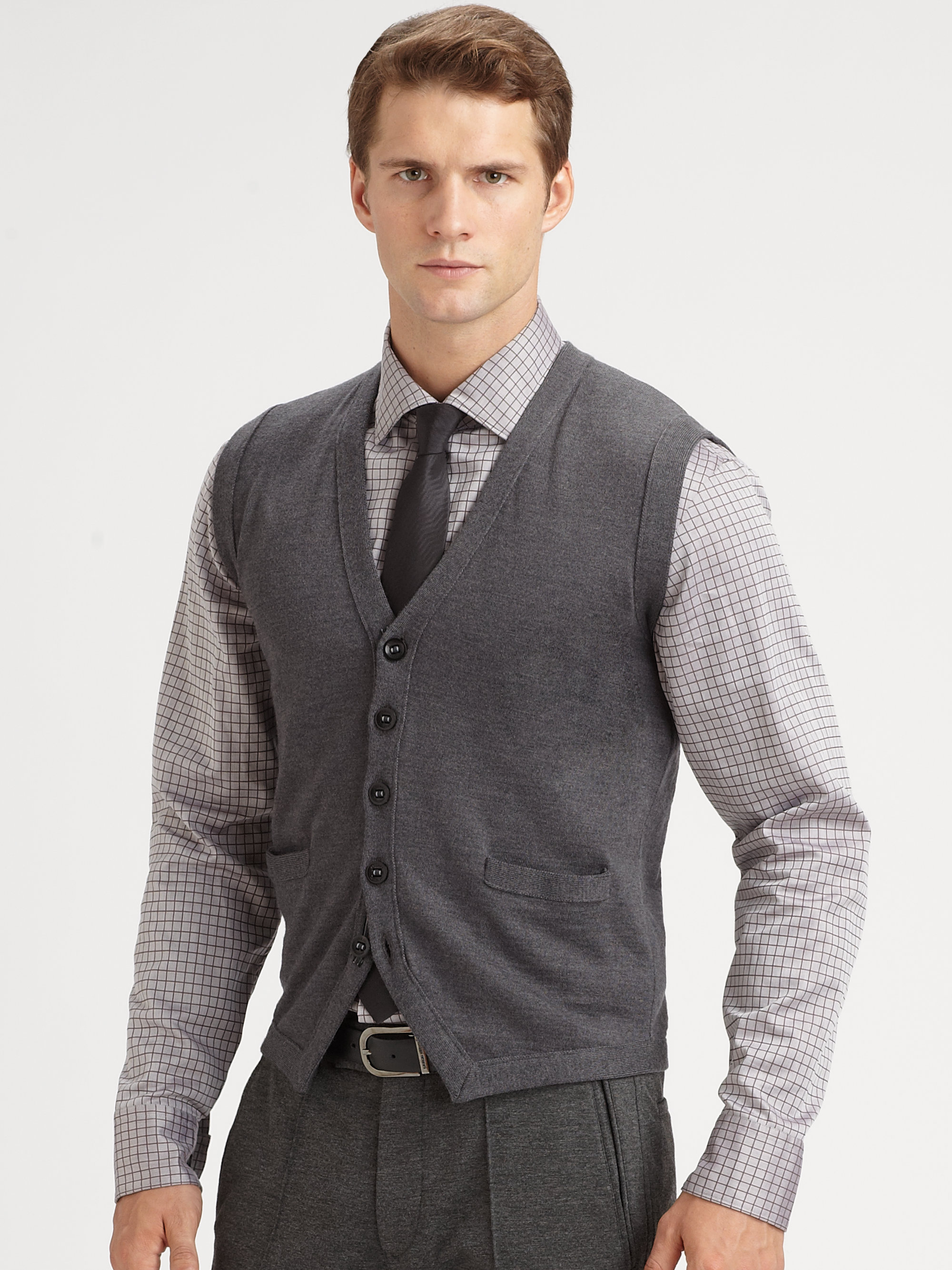 Armani Wool Sweater Vest in Gray for Men | Lyst