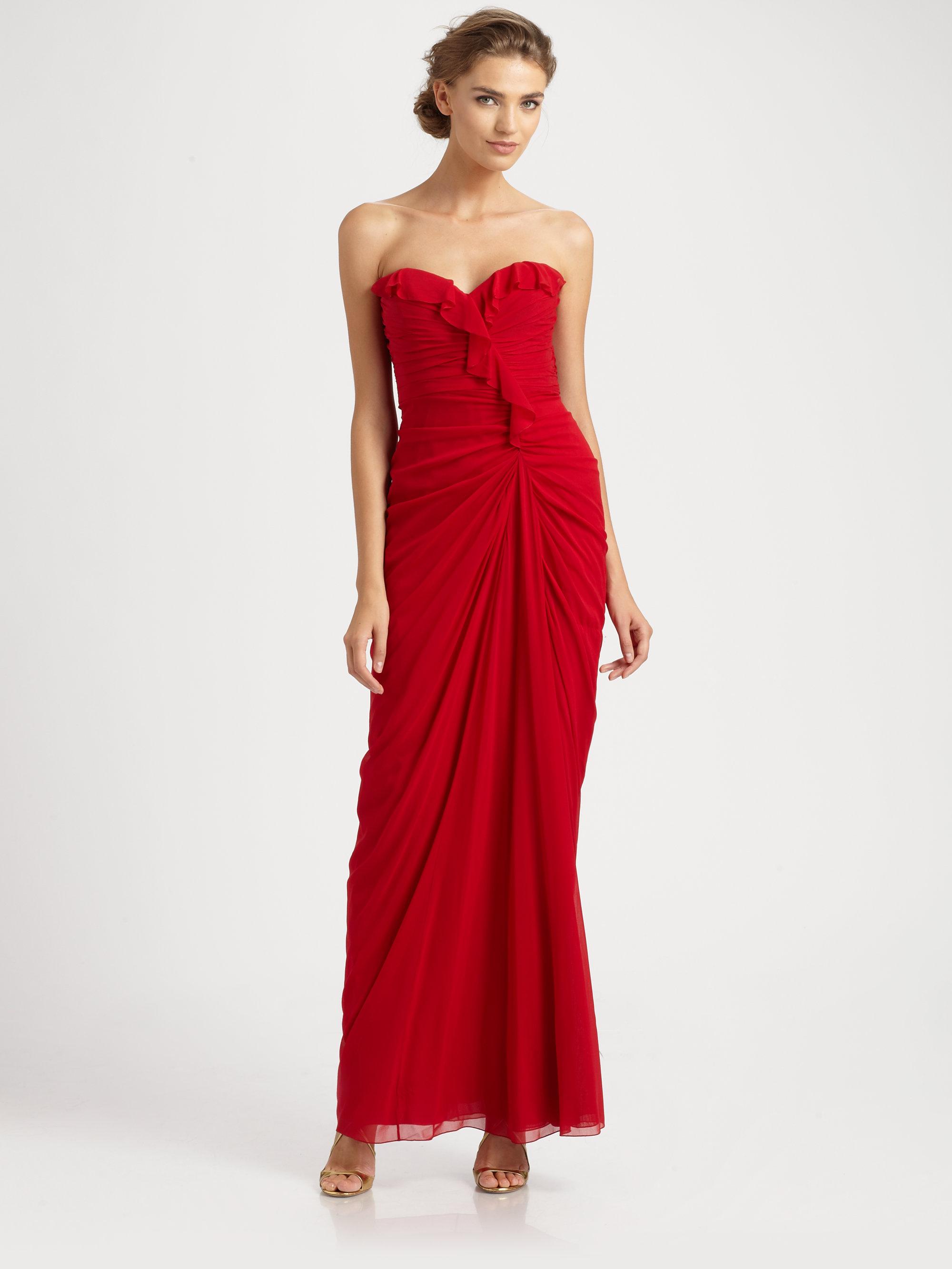 Lyst - Badgley Mischka Strapless Silk Gown in Red
