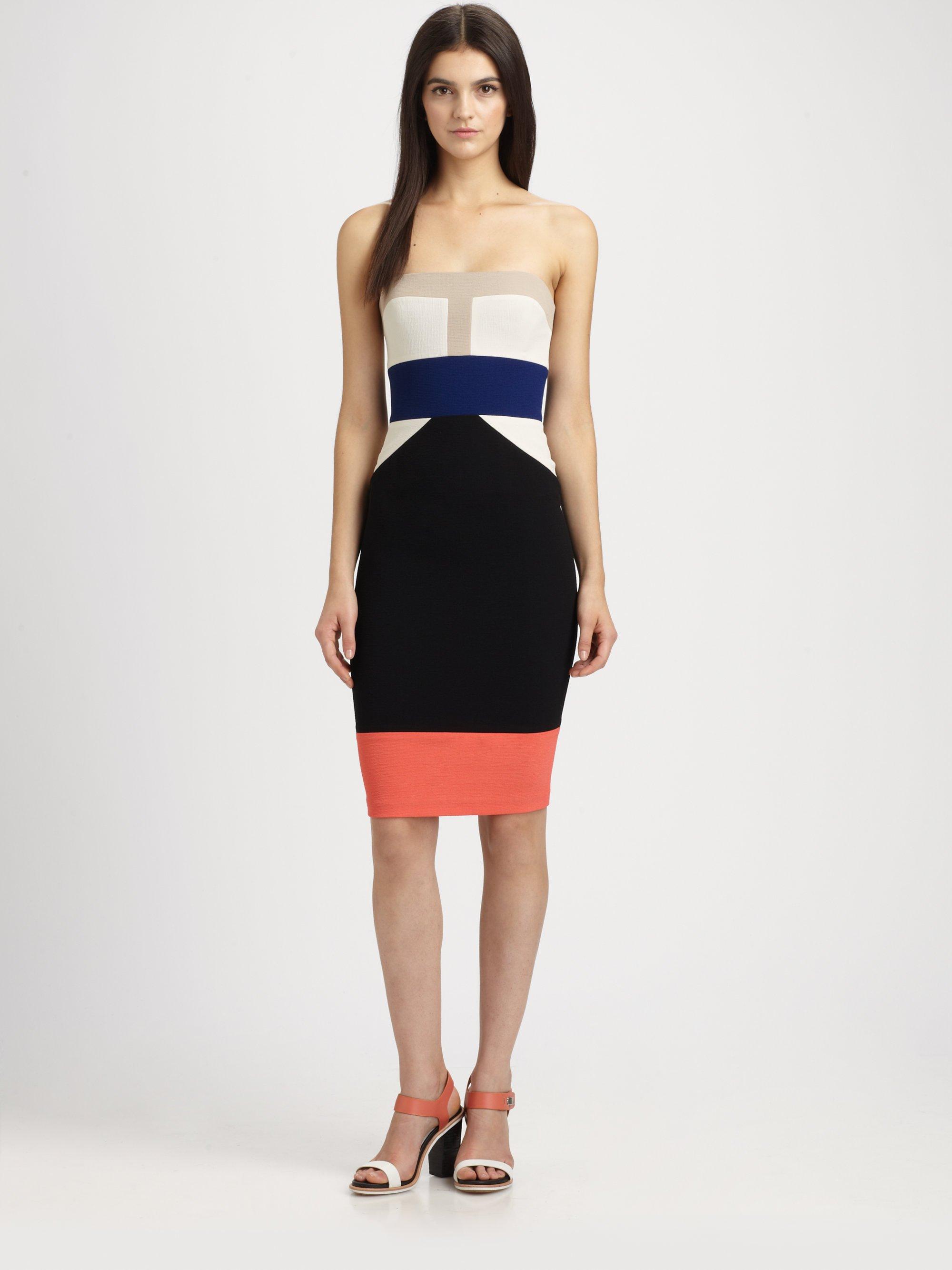 Bcbgmaxazria Reese Strapless Colorblock Stretch Jersey Dress in ...