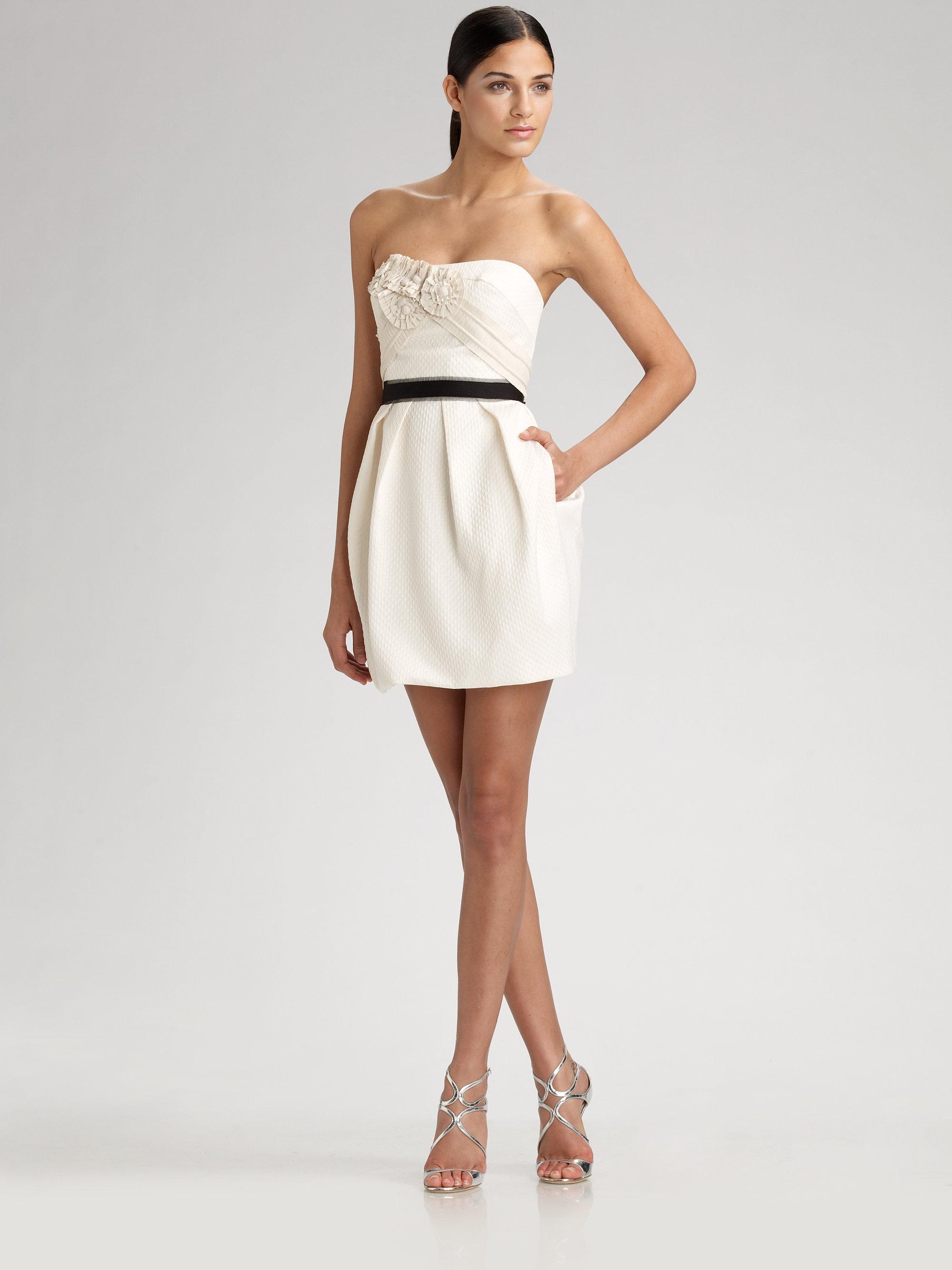 Bcbgmaxazria Strapless Rosette Dress In Cream White Lyst
