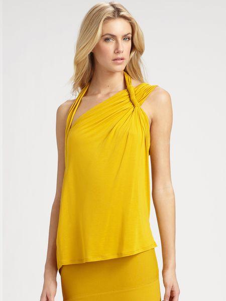 Bcbgmaxazria Roslyn Abstract Halter Top in Yellow (saffron)