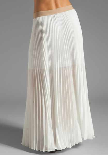 bcbgmaxazria pleated maxi skirt in white lyst