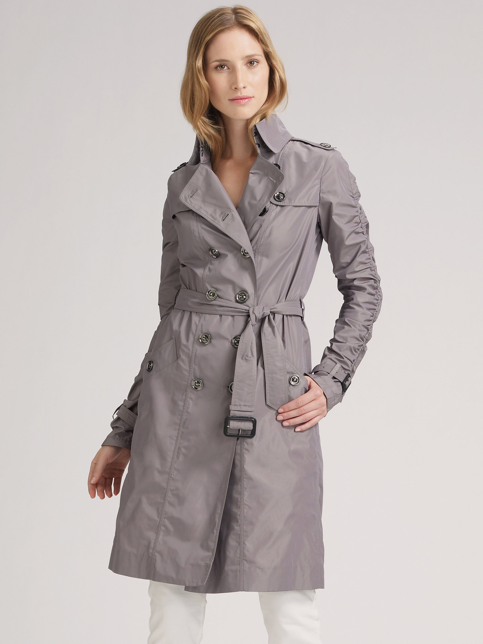 8733d594d8c Burberry Gray Double-breasted Taffeta Trench-coat