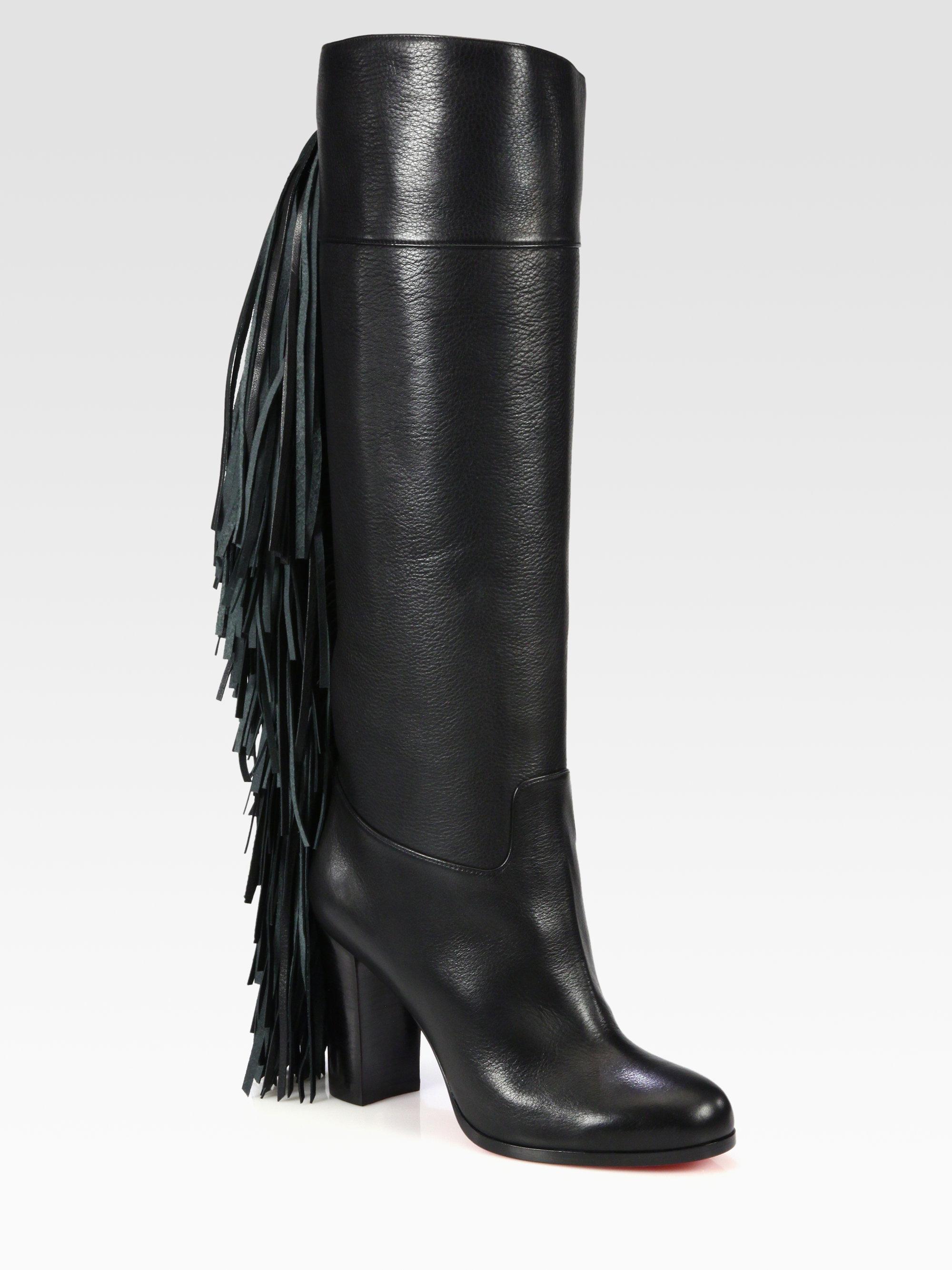 huge discount 5329f 90b60 Christian Louboutin Glamafrange Fringe Leather Boots in ...