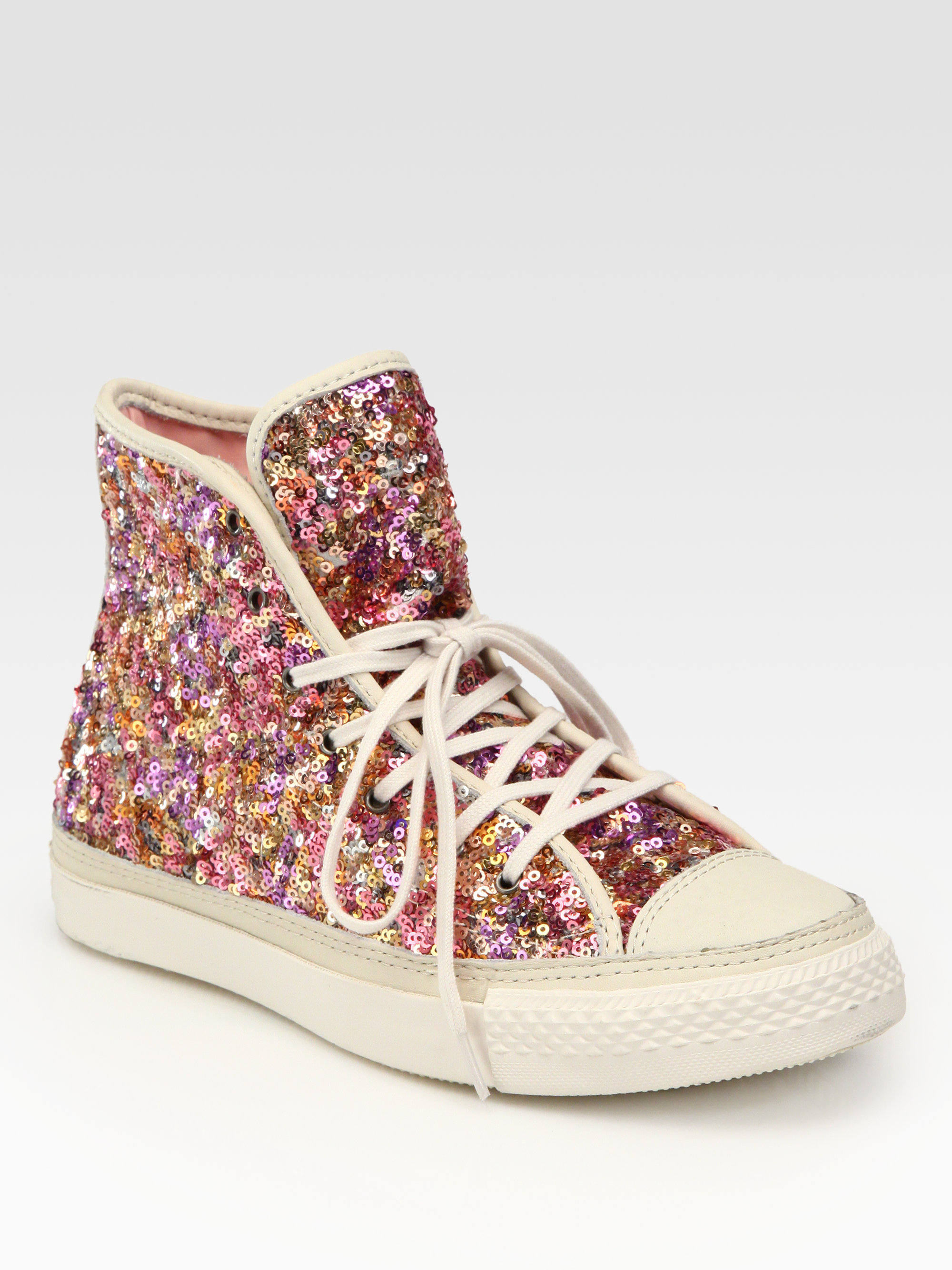 4288f1c799c298 ... wholesale lyst converse sequin hightop sneakers in pink 6b8e0 c8ecd