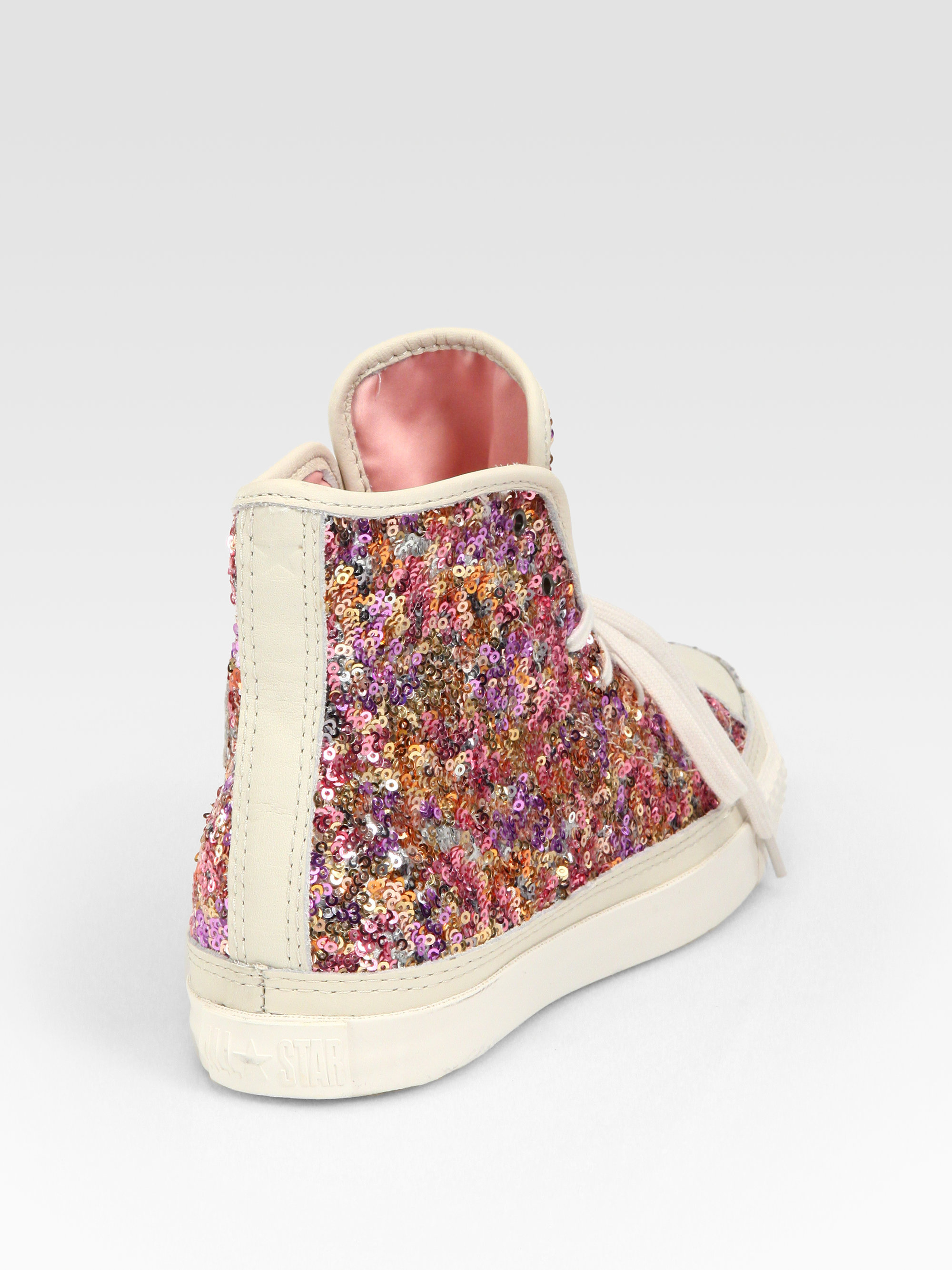 Lyst - Converse Sequin Hightop Sneakers in Pink 7558a70e3