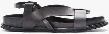 Damir Doma Black Leather Fuego Sandals in Black for Men