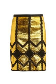 Derek Lam Metallic Leather and Crochet Pencil Skirt - Lyst