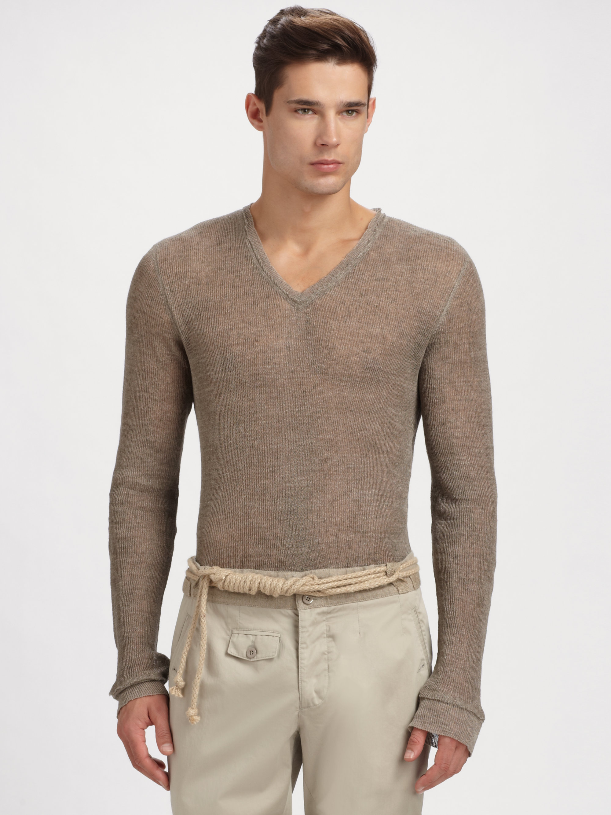 Dolce & gabbana Linen Sweater in Natural for Men | Lyst