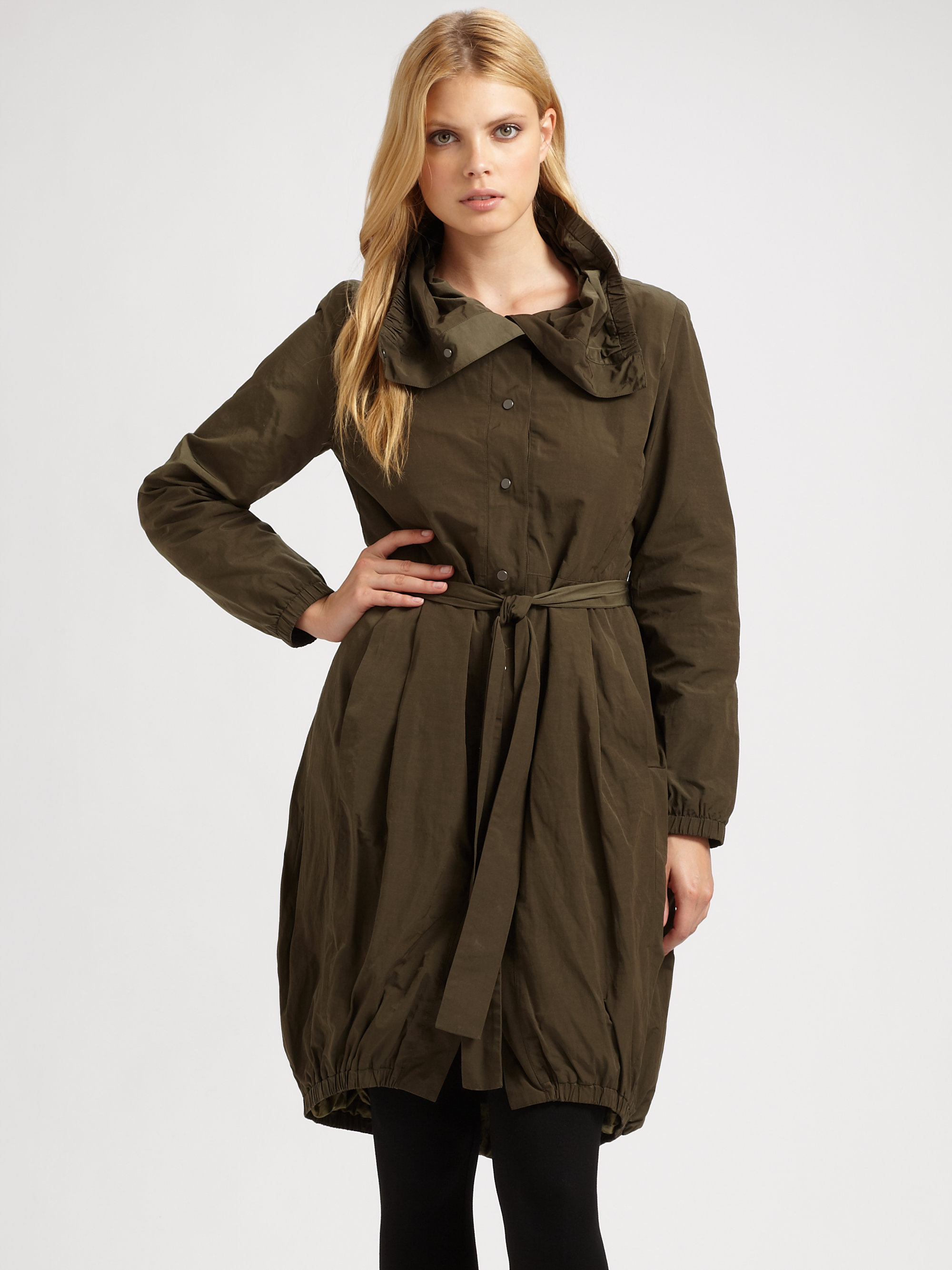 Eileen fisher Bubble Coat in Green | Lyst