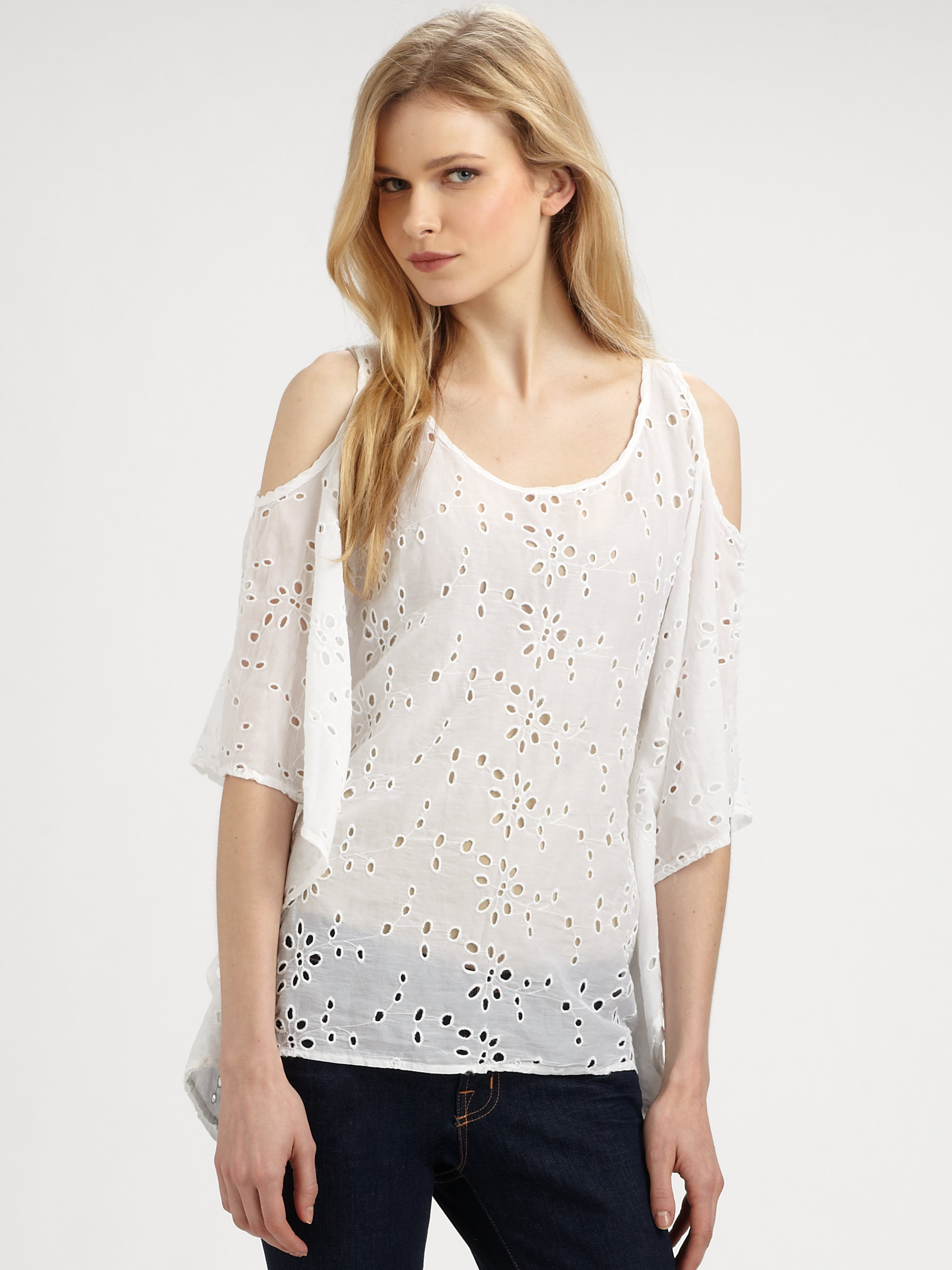 1a6d4a260d9632 Lyst - Ella Moss Annie Eyelet Cold Shoulder Top in White