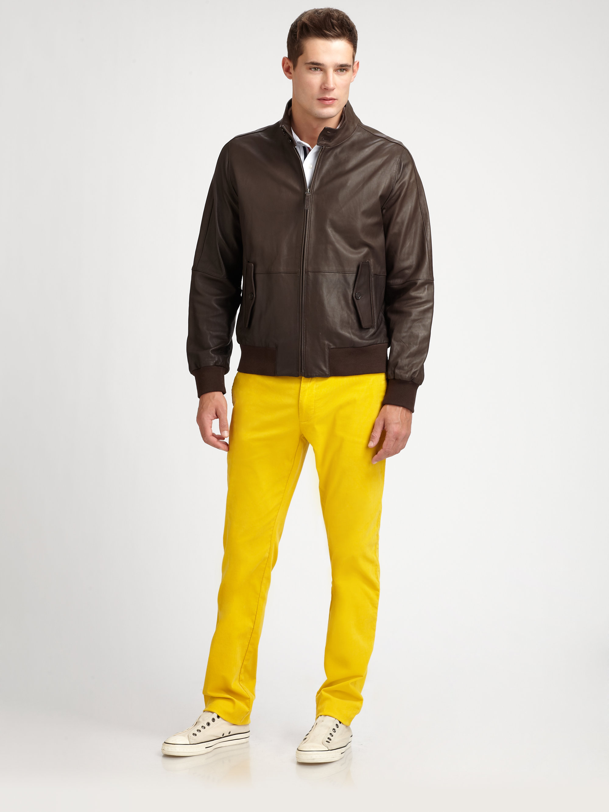 Façonnable Leather Bomber Jacket in Brown for Men | Lyst