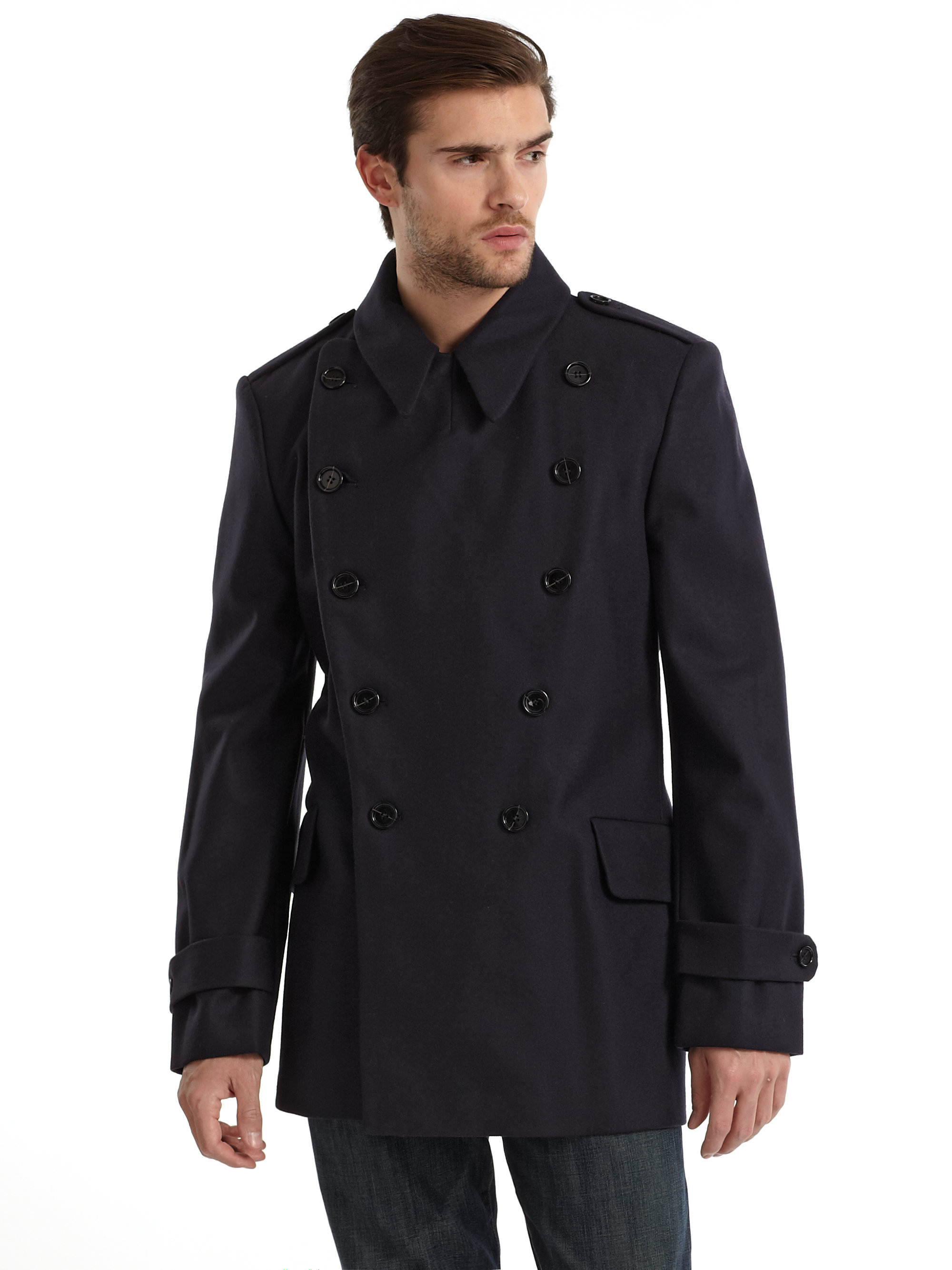 French connection Military Coat Darkest Blue in Blue for Men | Lyst