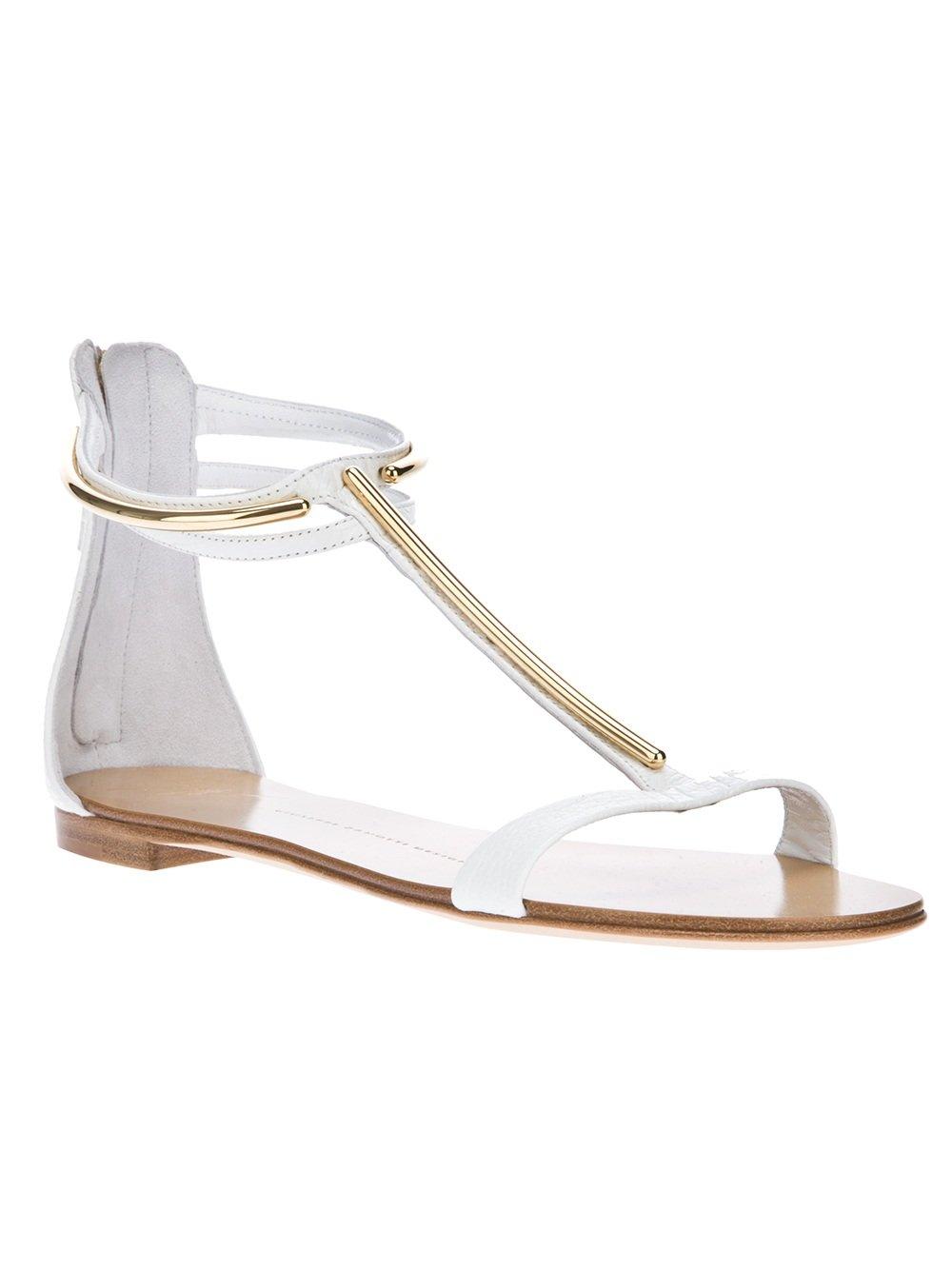 c8d0a06b8 Lyst - Giuseppe Zanotti T-bar Sandal in White