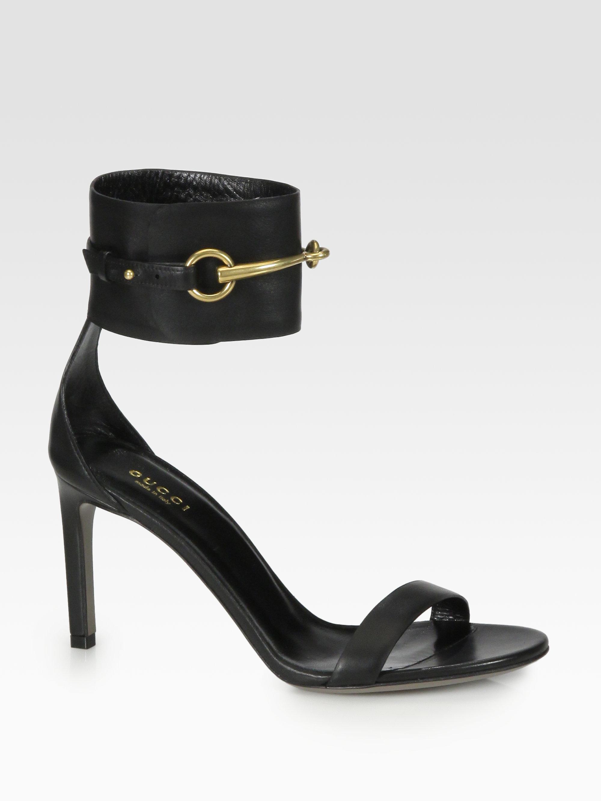 Lyst Gucci Ursula Leather Horsebit Sandals In Black