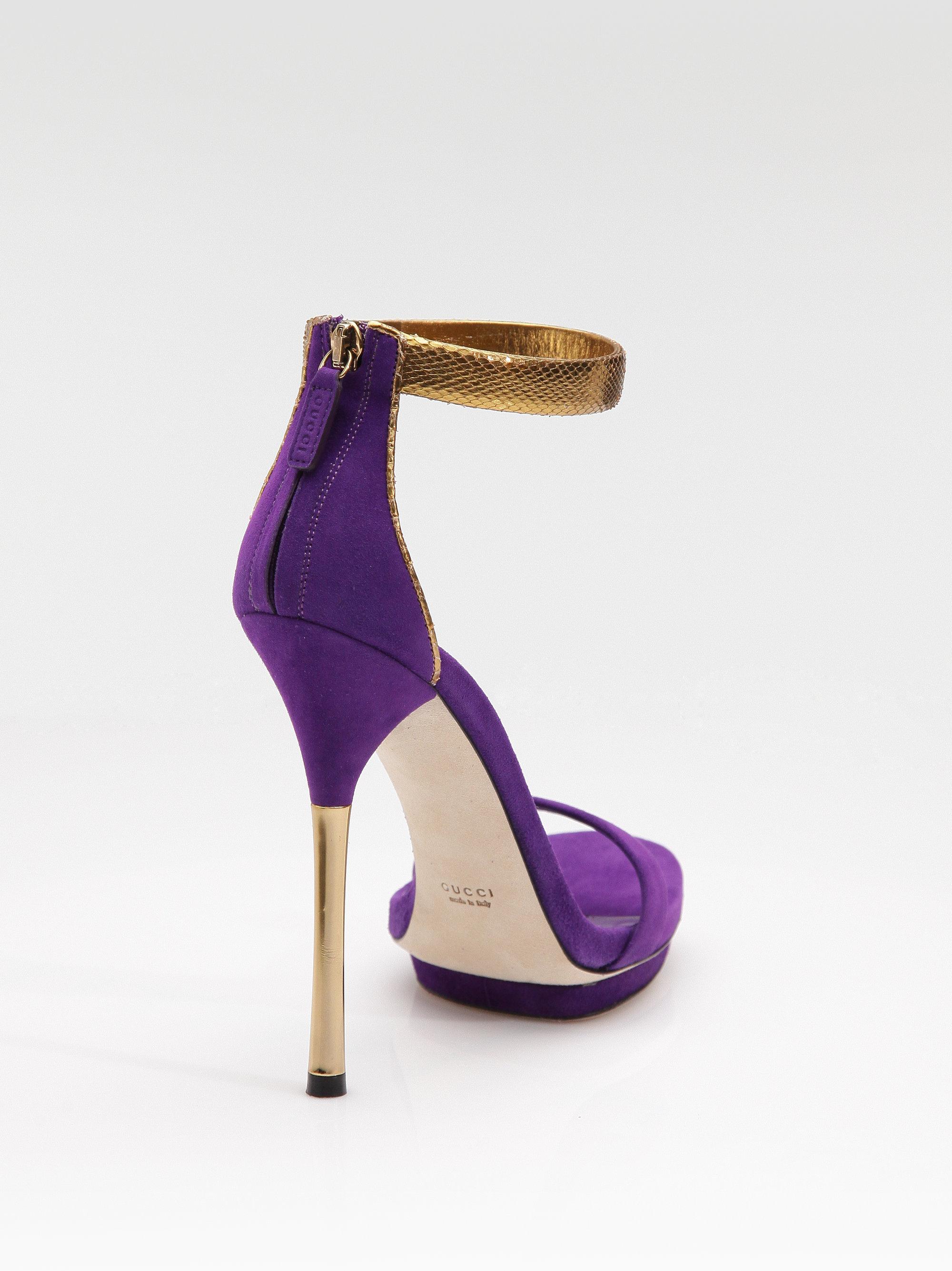 27ce15b0414 Lyst - Gucci Kelis Suede Python Anklestrap Platform Sandals in Purple