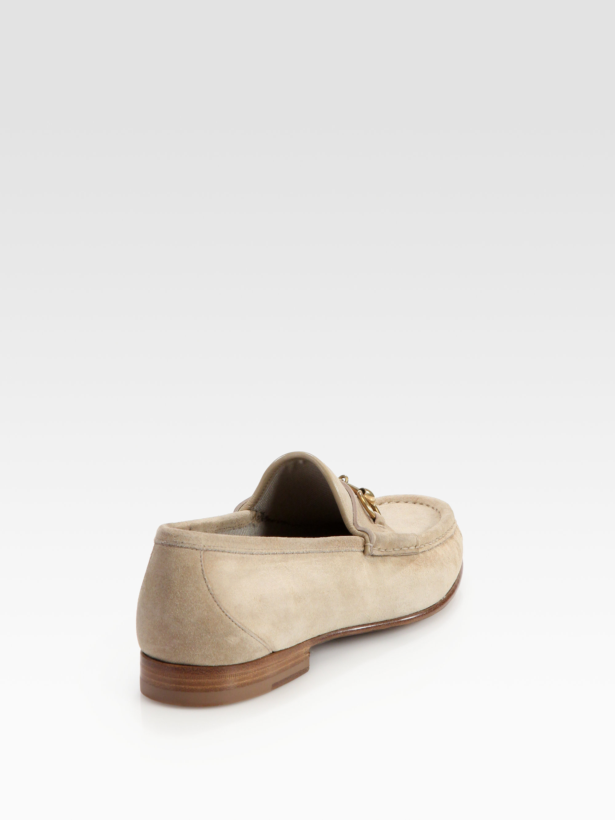 e7c9f41f8e3 Gucci Roos Suede Horsebit Loafers in Natural for Men - Lyst