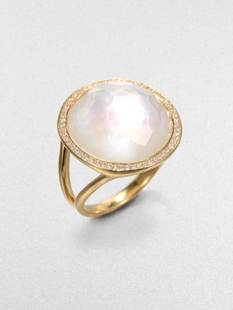 Ippolita Diamond Motherofpearl and 18k Yellow Gold Ring - Lyst