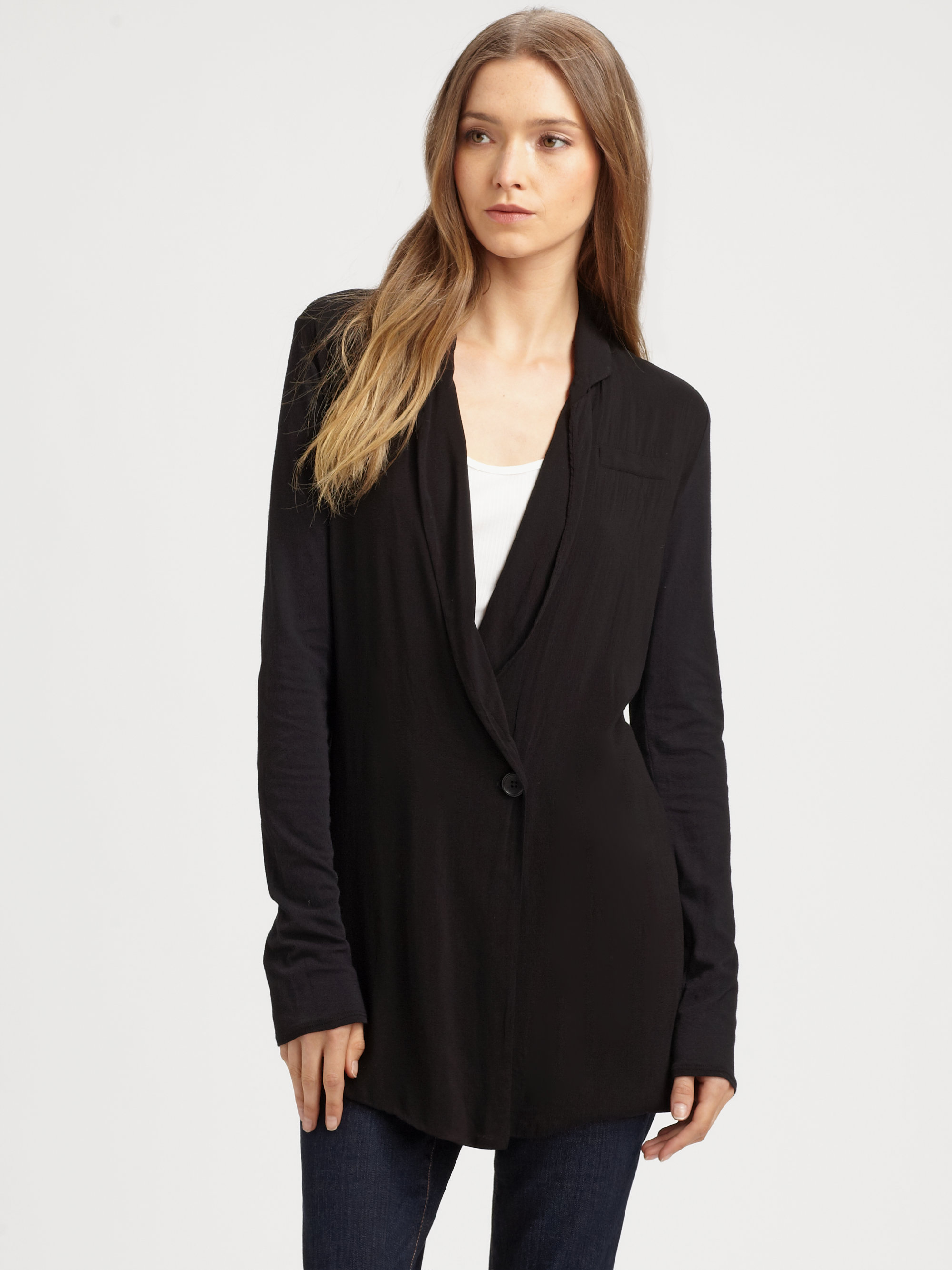 Lyst James Perse Shawl Collar Jacket In Black