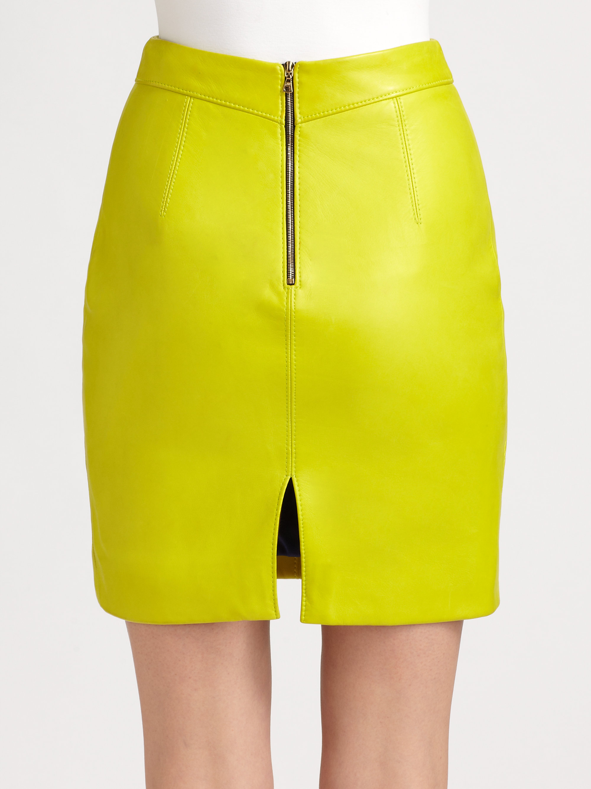 jason wu leather pencil skirt in yellow lyst