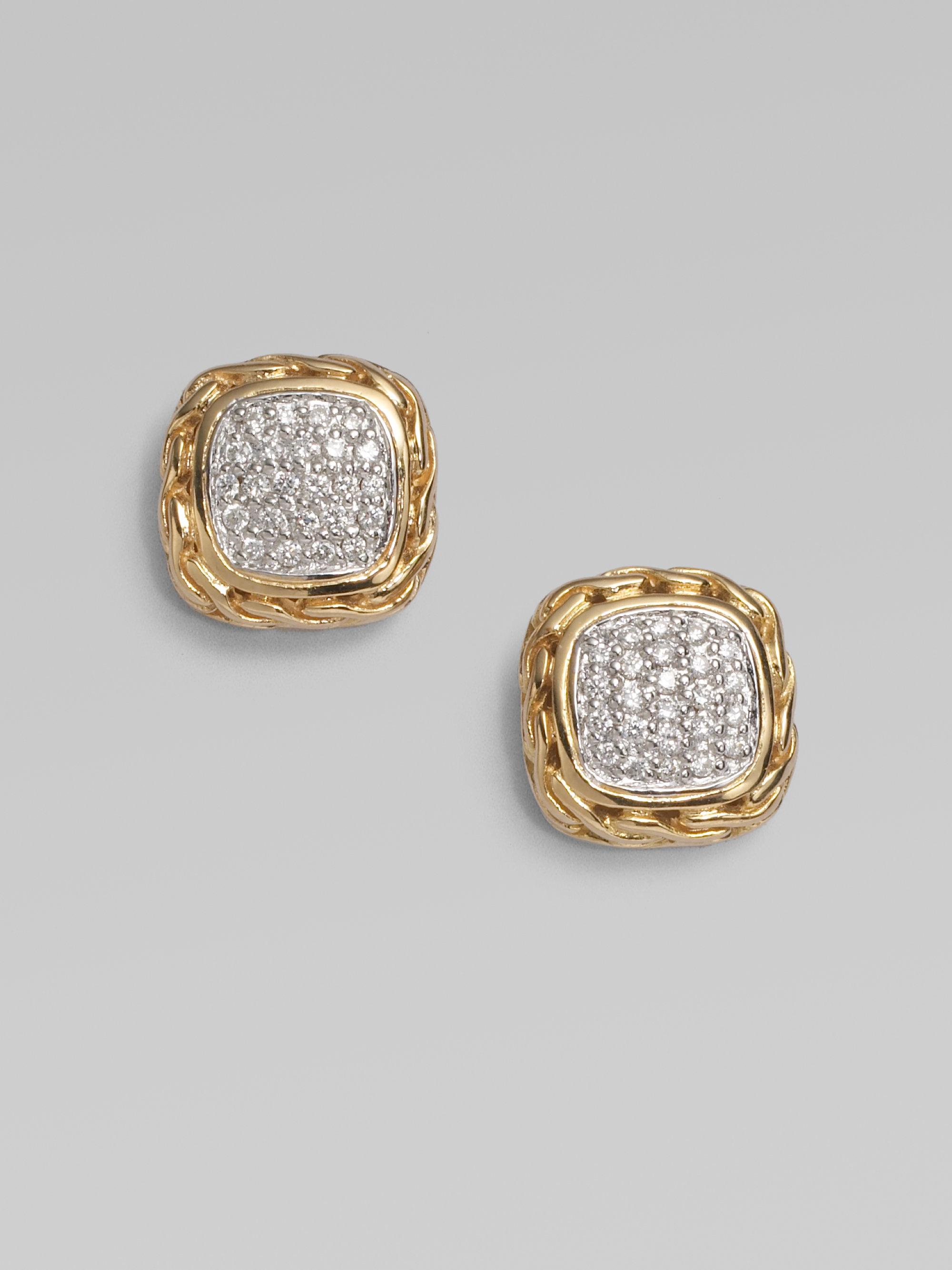 Well-liked Lyst - John Hardy Diamond 18k Gold Small Square Earrings in Metallic EK74